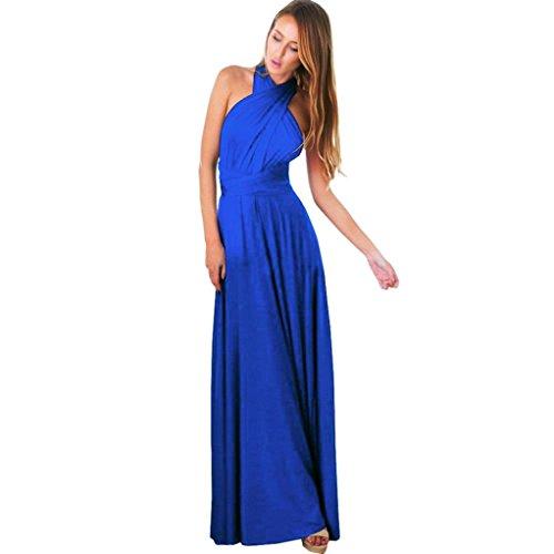 Blu lungo Way da Vestito damigella d'onore Donne Convertibile Abito sera Wrap Multiple xHnqAPT