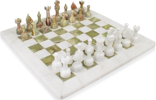 Classic White & Multi-Green Onyx Chess Set - 3
