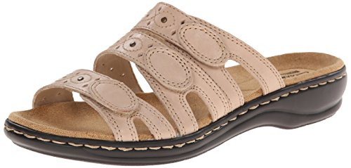 CLARKS Women's Leisa Cacti Slide Sandal, Nude Leather, 10 N US (Shoes Narrow Width)