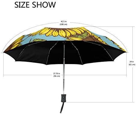 Akiraki 折りたたみ傘 レディース 軽量 ワンタッチ 自動開閉 メンズ 日傘 UVカット 遮光 向日葵 花柄 エレガント 油絵 かわいい ブルー 折り畳み傘 晴雨兼用 断熱 耐強風 雨傘 傘 撥水加工 紫外線対策 収納ポーチ付き