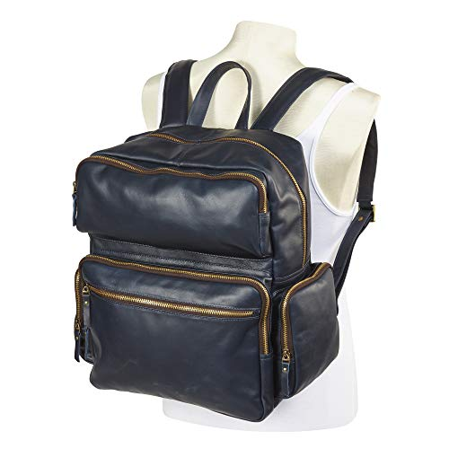 (Clava Leather Commuter Backpack (Navy))