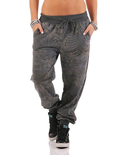 ZARMEXX Jogging Pantalone felpa di cotone Pantaloni sportivi da donna da jogging pantaloni tempo libero pantaloni Relax Fit Pant Jungle Stampa Grigio