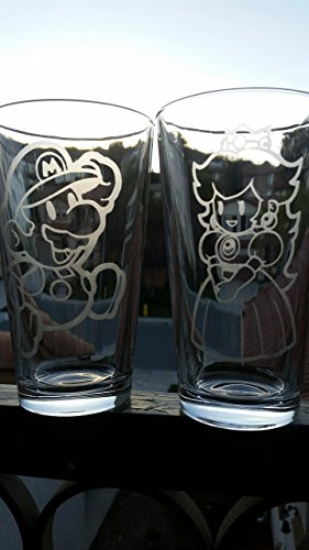 Mario Princess Peach Super Mario Brothers Pint Glass Set Beer Cups 16 oz For Sale