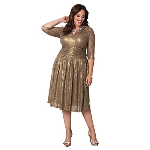 de0d5608170 Kiyonna Women s Plus Size Limited Edition Metallic Maven Lace Dress  high-quality