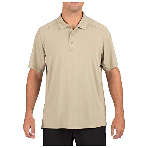 (5.11 Men's Helios Short Sleeve Polo Shirt, Silver Tan, Medium)