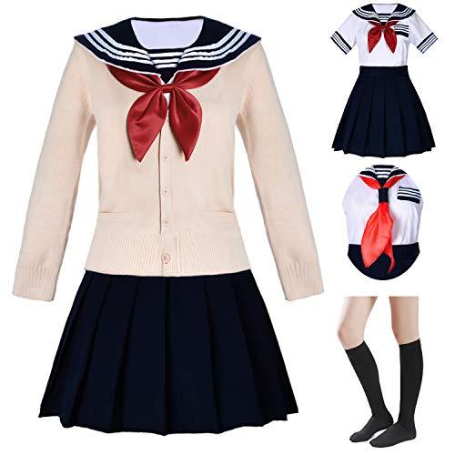 Japanese School Girls Short Sleeve Uniform Sailor Navy Blue Pleated Skirt Anime Cosplay Costumes Sweater with Socks Set(SSF34MY) XL(Tag 2XL)]()