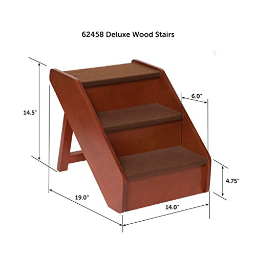 PetSafe Solvit PupSTEP Wood Pet Stairs, Foldable Steps for Dogs and Cats, Best for Small to Medium Pets 30%OFF