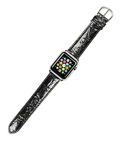 apple-watch-band-genuine-crocodile-watch-band-short-length-black-fits-38mm-apple-watch-silver-adapte