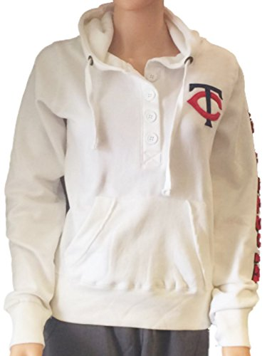 Fleece Minnesota Twins Pullover - Minnesota Twins SAAG Women White Quarter Button Pullover Hoodie Sweatshirt (S)