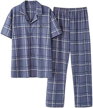 [Bestmood]パジャマ メンズ 半袖 ルームウェア 上下セット 前開き 部屋着 ロングパンツ セットアップ 寝巻き カジュアル 男性用 夏パジャマ