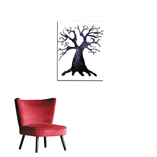 longbuyer Wall Sticker Decals Halloween Silhouette of Watercolor Terrible Dead Tree Isolated on White Background Mural 20