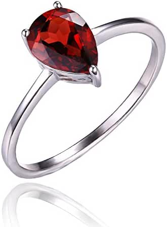 JewelryPalace Women's 1.4ct Natural Red Garnet Birthstone Ring 925 Sterling Silver
