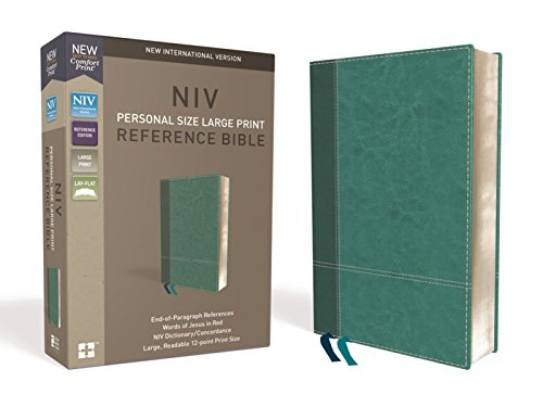 (NIV, Personal Size Reference Bible, Large Print, Leathersoft, Teal, Red Letter Edition, Comfort Print)
