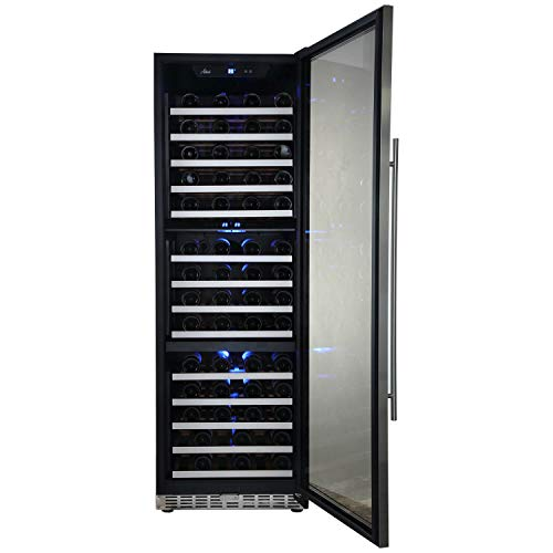 Cheap Aokinle 144 Bottle Wine Cooler-Compressor,24″ Triple Zone Built-in&Freestanding,Steel Door&Double-Layer Tempered Glass Door Refrigerator,Temperature Memory Function&Touch Control