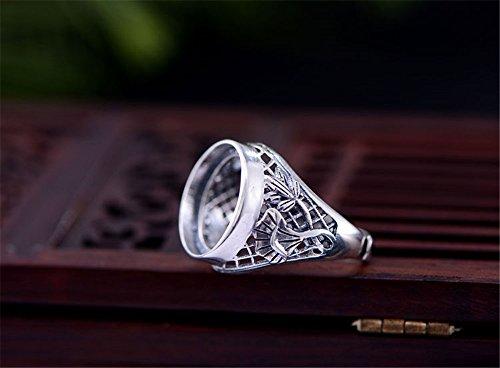 Ring Blank (15x15mm Round Blank) Adjustable Thai Sterling Silver Ring Base Filigree Lotus Round Cabochon Ring Setting R612B