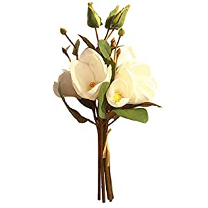 MaxFox Artificial Flowers,Fake Leaf Magnolia Floral Wedding Bouquet Arrangement in Vase for Party Home Decor (D) 91