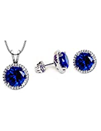 SWAROVSKI CRYSTAL Birthstone Nickel Free Earring Necklace Pendant Fashion Jewelry Set For Women - 18 Inches Chain 8mm Round - Christmas Gift