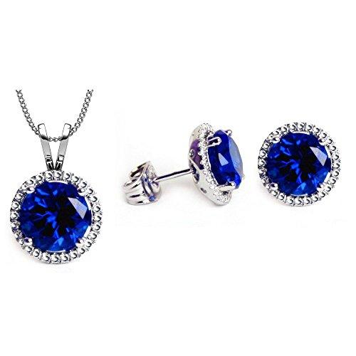 Swarovski Crystals September Birthstone Sapphire Stud Pendant & Earrings (Swarovski Dark Sapphire)