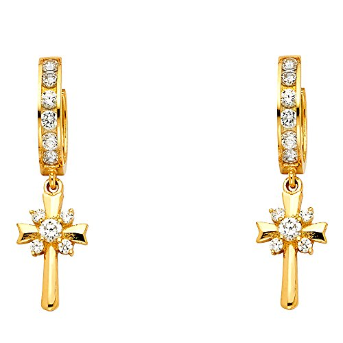 14K Yellow Gold Fancy Huggie Dangle Cross Earrings (8 X 31mm)