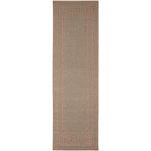 Diva At Home 2.25' x 7.5' Mosaic Medley Desert Taupe and Cayenne Pepper Red Shed-Free Area Throw Rug Runner