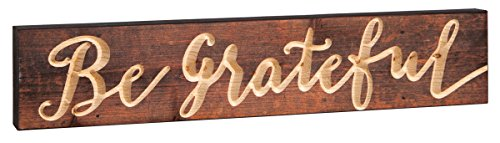 Be Grateful Brown 17 x 3.5 Inch Pine Wood Carved Barnhouse Block Tabletop Sign