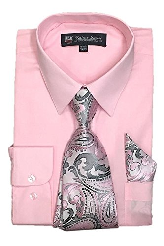 "Fortino Landi Men's Long Sleeve Dress Shirt With Matching Tie And Handkerchief (18-18.5"" Neck 36/37"" Sleeve (XXLarge), Pink)"