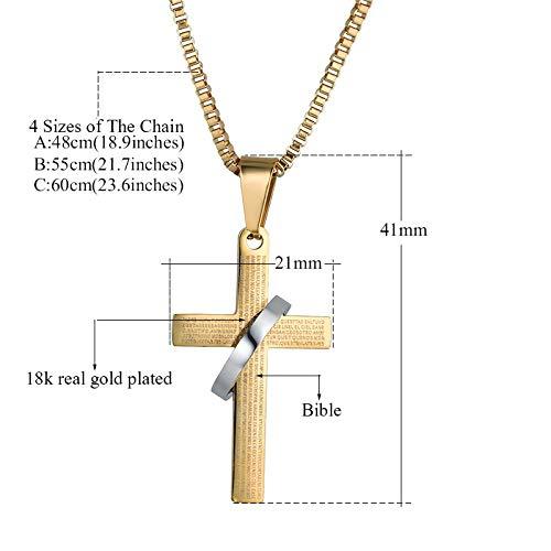 Metal Color: YW0736G, Length: 55 cm Davitu Fashion Male Cross Pendants Gold Black Color Stainless Steel Jesus Cross Pendant Necklace Jewelry for Men//Women