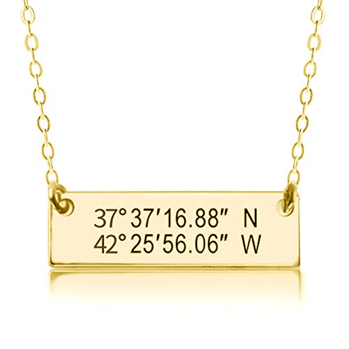 Golden Buddha Halloween Costume (Ouslier 925 Sterling Silver Personalized Coordinate Bar Necklace Pendant Custom Made with Any Symbols (Golden))