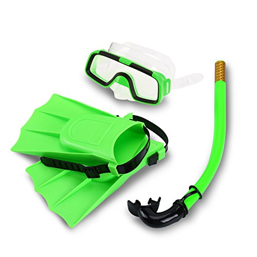 Yosoo Children Kids Swimming Diving Silicone Fins +Snorkel Scuba Eyeglasses + Mask Snorkel Silicone Set for 8-12.5 US Foot Size ()