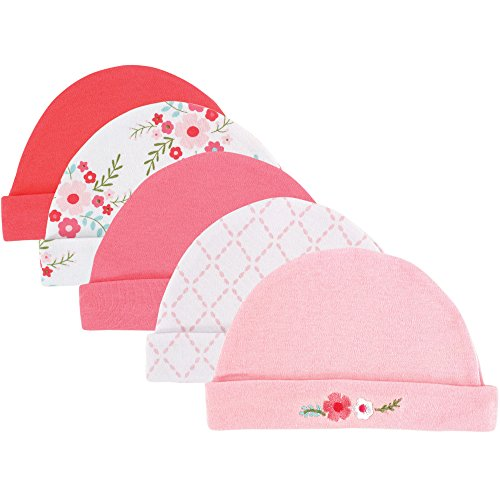 Caps, 5 Pack, Pink Floral, 0-6 Months ()