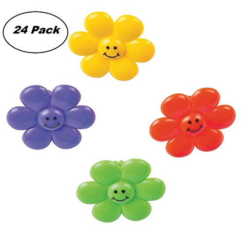 - Smile Face Flower Rings - Pack Of 24 - 1.25 Inches Assorted Colors - For Kids, Great Party Favors, Bag Stuffers, Fun, Toy, Gift, Prize, Piñata Fillers - By Kidsco