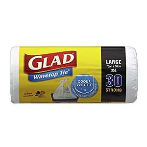 Glad Wavetop Tie Kitchen Tidy Bags, 30 count