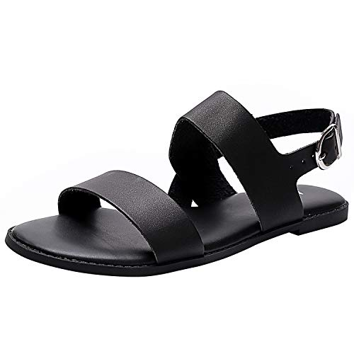 Women's Wide Summer Flat Sandals - Open Toe One Band Ankle Strap Flexible Shoes(180333 Black,10WW)