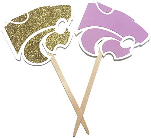 Kansas State University Cupcake Toppers Set of 12 / Happy Graduation Party Decoration K-State Wildcats College Football Tailgate Tailgating Party Decorations Purple and Gold Big 12 Baby Shower