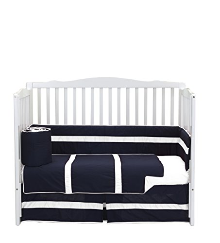 Baby Doll Bedding Solid Stripe Crib 4 Piece Bedding Set, Navy/White ()