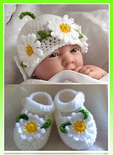 Set para niña sombrero e zapatos de hilo suave, Bebé recién nacido ...
