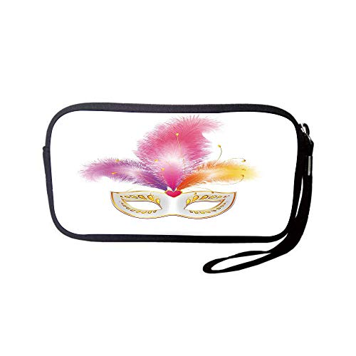 (iPrint Neoprene Wristlet Wallet Bag,Coin Pouch,Masquerade,Golden Colored Carnival Mask with Feathers Mysterious Costume Classical Print,Multicolor,for Women and)