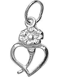 Silver Heart & Flower Charm