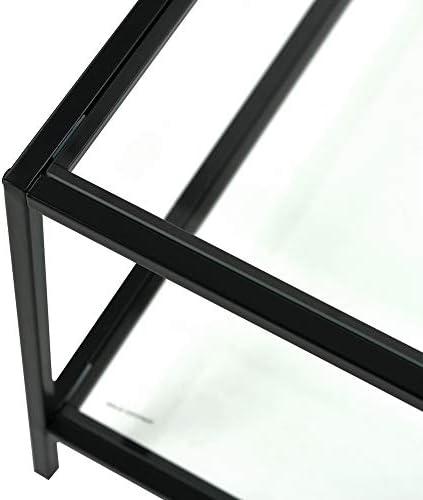 FURNISH 1 Table Basse 80x80x42cm Carr/ée Verre M/étal Noir Moderne LCT