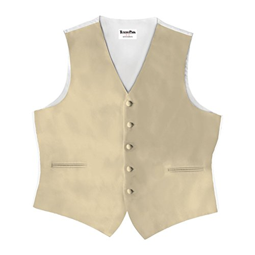 Champagne Satin 5 Button Full Back Vest