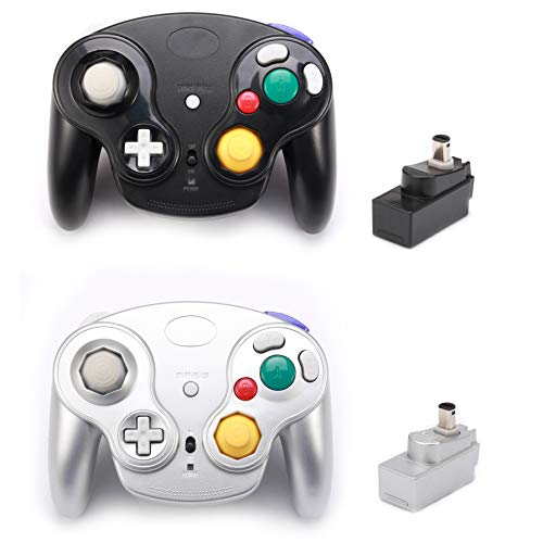Poulep 2 Packs Classic 2.4G Wireless Controllers Gamepad with Receiver Adapter for Nintendo Wii U Gamecube NGC GC (Black and Silver)