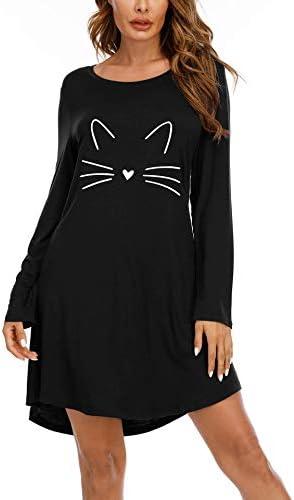 Magritta Women's Nightgown Long/Short Sleeve Cotton Nightshirt Crewneck Sleepwear Print Pajama