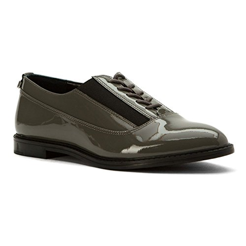 Calvin Klein Womens Della Closed Toe Oxfords, Shadow Grey/Black, Size 5.5