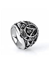 OAKKY Jewelry Mens Stainless Steel Domineering Vintage Freemason Masonic Rings, Black and Silver