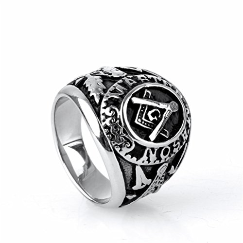 OAKKY Jewelry Mens Stainless Steel Domineering Vintage Freemason Masonic Rings, (Mens Masonic Ring)