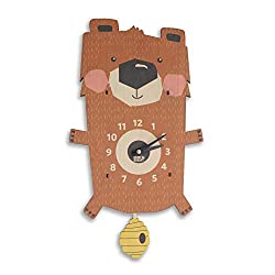 Birch Robot Forest Bear Wood Wall Pendulum Clock, Wall Decor for Baby Nursery, Kids Playroom, Bedroom, Woodland Nursery