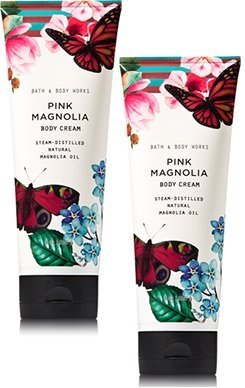 (Bath and Body Works 2 Pack Pink Magnolia with Magnolia Oil Body Cream 8 Oz.)