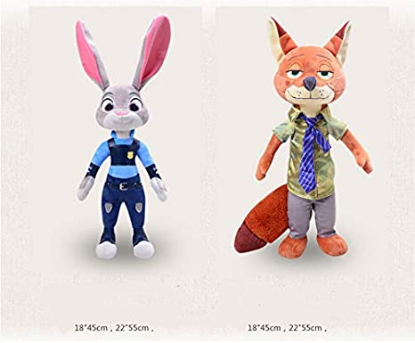 DOUFUZZ Cartoon Movie Zootopia Judy Rabbit Bunny Nick Fox Delicate Plush Doll Romantic Kids Couples Cadeau d/'Anniversaire 45cm Judy