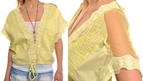 6762 Fashion Blusa en Double Look con Top amarillo