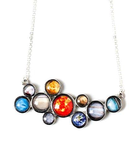 Solar System Necklace - Silver Tone Bib Pendant